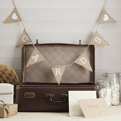 Card Bunting Vintage Style Rustic Hessian Bunting Cards, Wedding Decoration