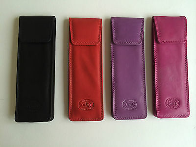 Leather Slim Narrow Spectacle Spec Glasses Case Black Pink Lilac Navy Blue Red