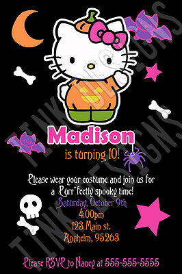 Halloween Hello Kitty party invitation birthday costume favor