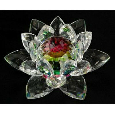 4 inch Rainbow Crystal Lotus Flower Feng Shui Home Decor with Gift Box