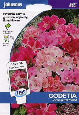 Johnsons Pictorial Pack - Flower - Godetia Dwarf Jewel mixed - 1000 Seeds