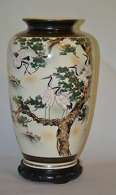 LARGE VINTAGE ANTIQUE JAPANESE KUTANI VASE WITH STAND 15 INCHES TALL! FABULOUS!!