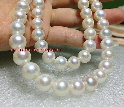 """LONG AAAAA 35""""12-13mm round REAL natural south sea WHITE pearl necklace 14K"""