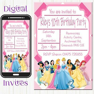 5 x personalised kids childrens birthday invites invitations