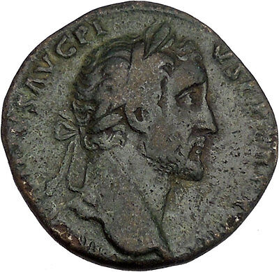 Antoninus Pius Marcus Aurelius Father Big Sestertius Ancient Roman Coin i42153