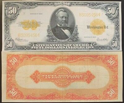 Reproduction United States $50 Bill Gold Certificate 1922 Ulysses Grant Fifty