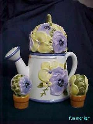 Watering Can With Pansy Cookie Jar PLUS Shakers NIB