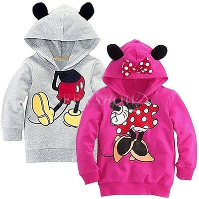 NEW Minnie/Mickey Mouse Kid Boy Hoodies Coat Baby Girls T Shirt Top Clothes 2T-6