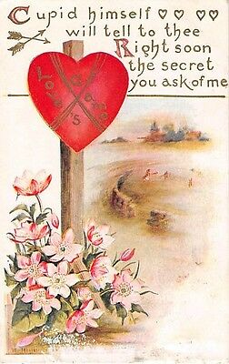 Heart Road Sign by Road & Pretty Pink Flowers on 1910 Valentine Postcard
