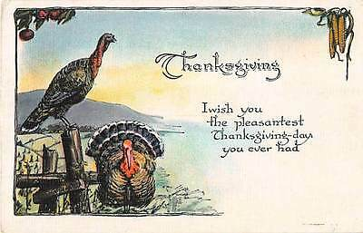 1925 Thanksgiving Postcard of Turkeys by a Fence - Series No. 467