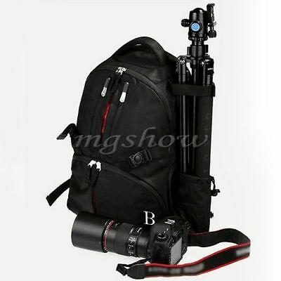 Travel Camera Bag Case Backpack for DSLR SLR Canon EOS Rebel Nikon + Rain Cover