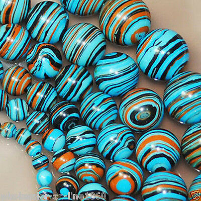 "6mm 8mm 10mm Multicolor Stripe Turquoise Gemstone Round Loose Beads 15"" AAA"
