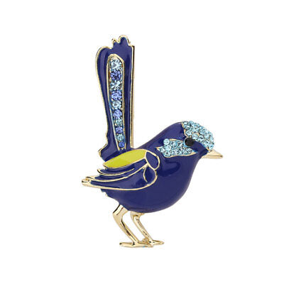 Gold Plated Enamel Superb Fairywren (Blue Wren) Brooch with Crystals <FJ>