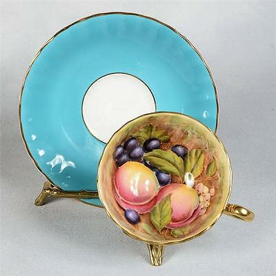 SIGNED AYNSLEY TEACUP & SAUCER - BLUE/WHITEDECORATED WITH  FRUIT