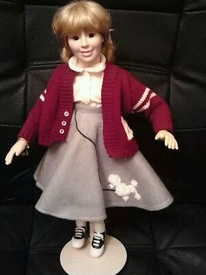 """50's Poodle Skirt and Saddle Shoes Porcelain Doll 15"""" w/stand"""