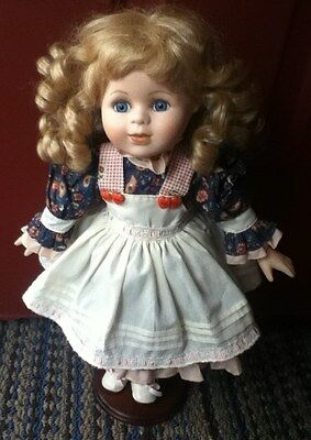 """Limited Edition Brinn's Country Porcelain Doll w/stand 18"""""""