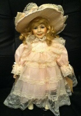 """Dynasty Doll Collection Porcelain doll 16"""" w/Stand"""