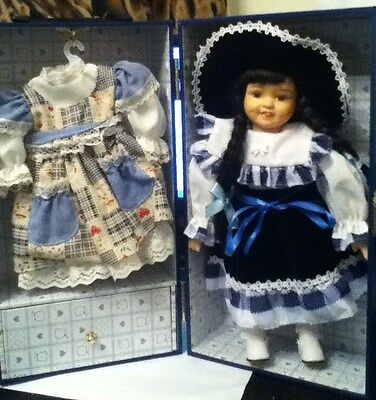 """Porcelain Doll in Box with Accessories Blue 11"""""""