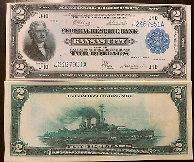 Reproduction $2 Federal Reserve Bank Note 1918 Jefferson Battleship Kansas City