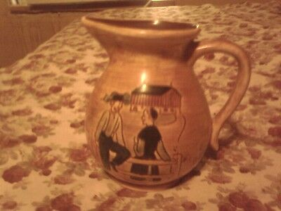 old pottery decorated farmers very beautiful pennsbury pottery1.5 quart jug