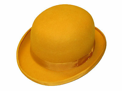 High Quality MUSTARD Hard Top 100% Wool Bowler Hat - Satin Lined - Sizes S to XL