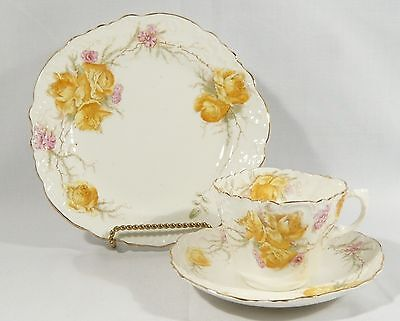 Antique 1891 AYNSLEY TEA CUP TRIO SAUCER Side Plate YELLOW ROSES Pink Embossed