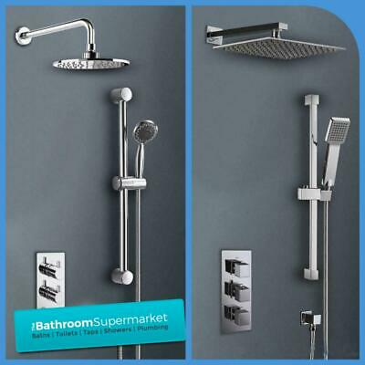 Bathroom Concealed Thermostatic Square/Round Shower Valve Tap Mixer Chrome