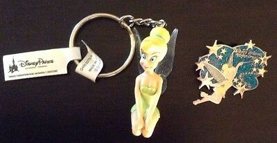 Disney Tinkerbell key chain and collector pin set. Brand New With Tags