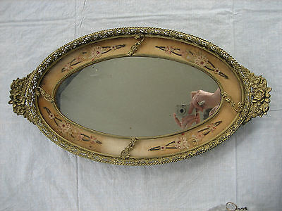 Vintage Vanity Oval Tray - Mirror, Chain Stitch Embroidery and Filigree Metal