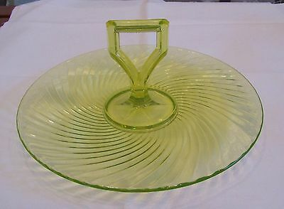 Imperial Twisted Optic Vaseline Canary Center Handle Serving Tray Exc Condition