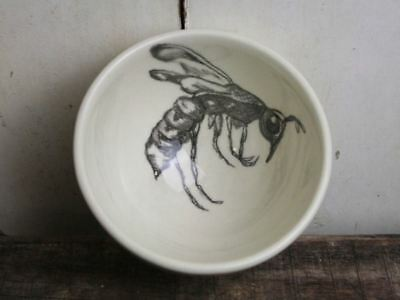 Wasp Bowl, Hand Sketched Ceramic Bowl, Earthenware, Prep Bowl, Insect Sketch