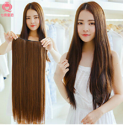 Clip In Remy Human Hair Extensions Full Thick Straight one Piece 100% real 20''