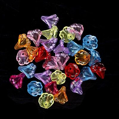 Hot 200pcs Lovely Flower Shaped Clear Acrylic Trumpet Beads For Jewelry 11X9.5MM