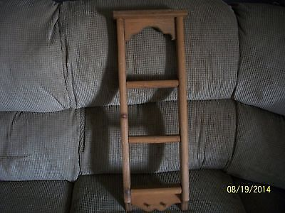 """Vintage 3 Tier Wood Ladder style Shelf w/ 2-mini pegs 23"""" tall Hand Crafted"""