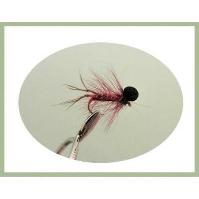 Trout Flies, 6 Claret Booby Hopper Fishing Flies - Size 10/12 - Fly Fishing