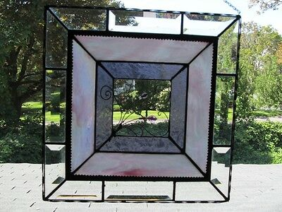 "Leaded Stained Art Glass Hanging Panel Sun Catcher 13"" By 13"""