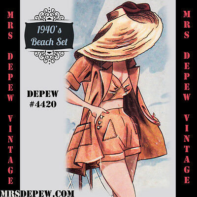 Vintage Beach Sewing Pattern 1940's Bra and Shorts in Any Size + PLUS Size #4420