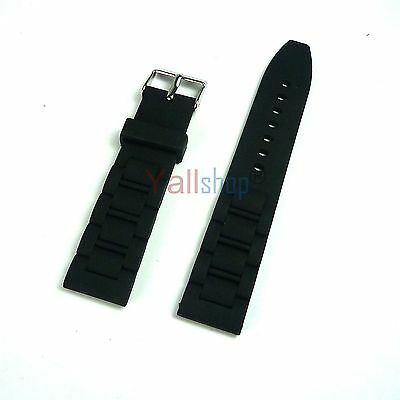 Men's Black Silicone Rubber Replacement Wristwatch Watch Band Strap 20mm ~ 26mm