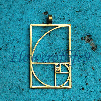 Fibonacci Golden ratio pendant (1 1/2 x 1) - Stainless Steel, TiN (gold color)