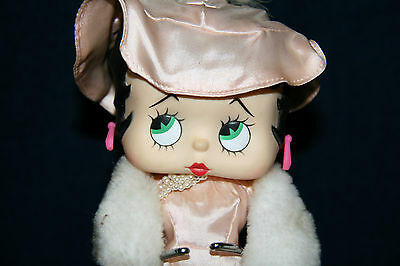 Betty Boop Doll Pink Evening Gown Dress White Faux Fur