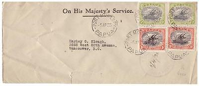 shop102 Papua 1935 OHMS cover to Canada with 1/2d(2) & 1d(2) OS perfins