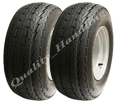 2 - (pair) 20.5 x 8-10 trailer wheels, high speed road legal tyres, 4 stud rim