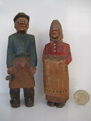 VINTAGE ANRI STYLE CARVED MAN AND WOMAN FIGURES