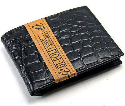 New Mens Genuine Leather Bifold Wallet ID Credit Card Alligator Window Crocodile