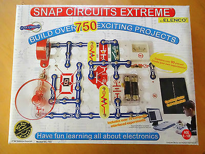 Snap Circuits Extreme SC-750 Electronics Discovry Kit;750 Projects;by Elenco;NIB
