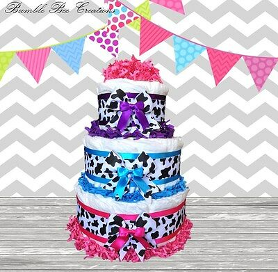 Colorful Cowhide Print 3 Tier Diaper Cake /Centerpiece / Baby Shower Gift