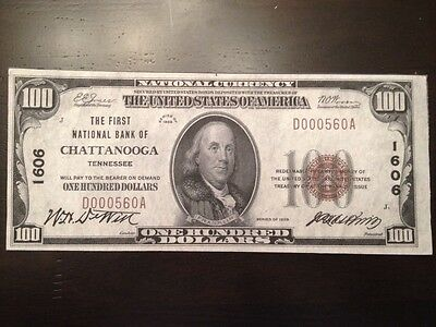 Reproduction National Bank Note $100 1929 Bill 1st Nat. Bank Of Chattanooga, TN