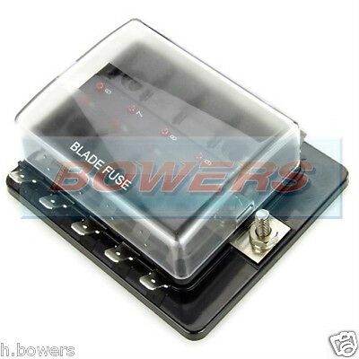 12V/24V 10 Way Blade Fuse Box Holder Bus Bar With Led Failure Warning Lights