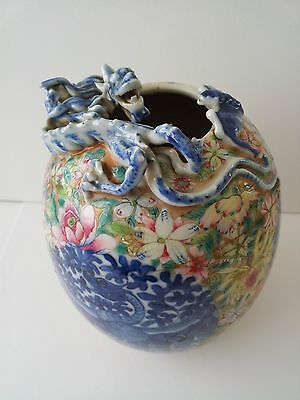 Antique Hand Painted Chinese Egg-Shaped Porcelain Jar with a Chilong