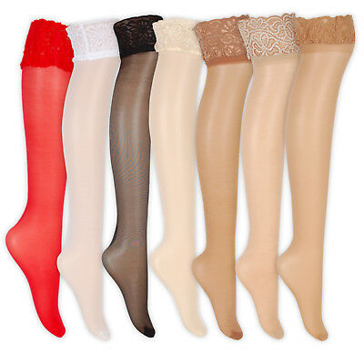 Womens Tudorose Glossy Lace Top Stockings 15 Denier Colours Available Classic
